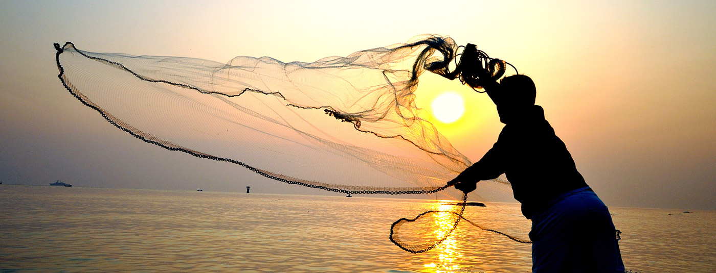 Fisherman Casting Net